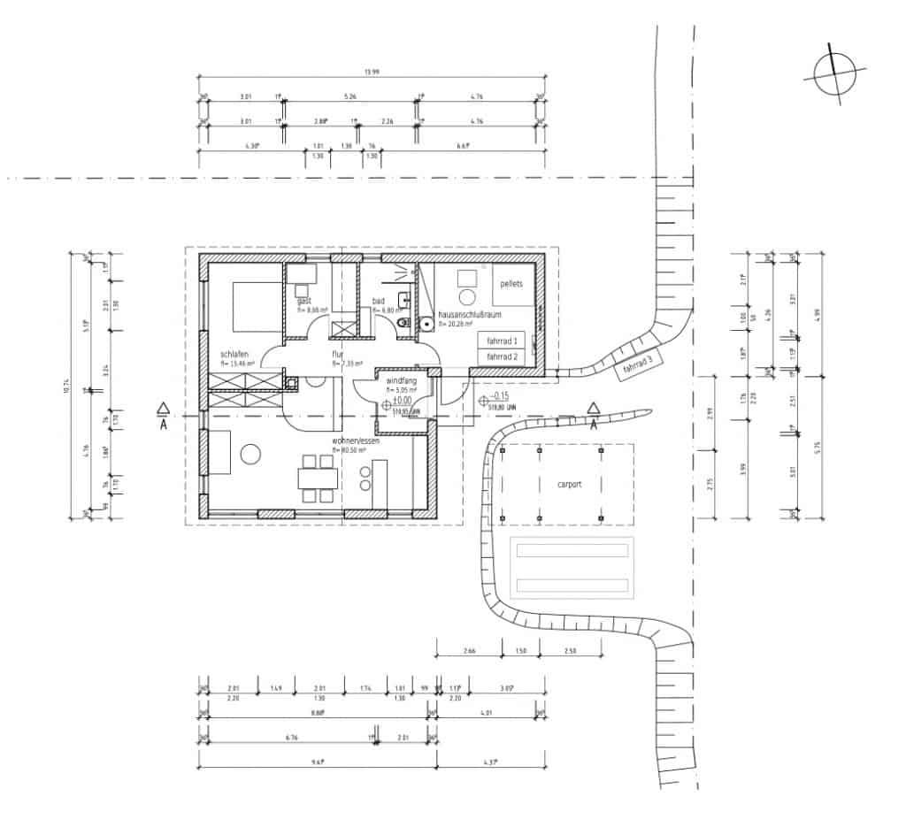 Grundriss des Hauses und der Außenanlagen